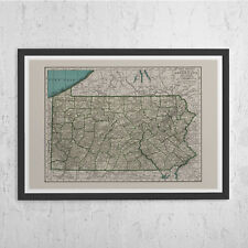 VINTAGE PENNSYLVANIA MAP - Vintage Map Wall Art - Vintage Map Reproduction, Penn