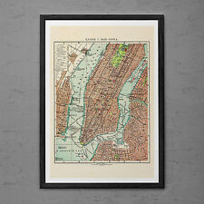 MANHATTAN Map Print Wall Art - Retro Russian Map of New York - NYC map Print New