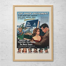 VINTAGE MOVIE POSTER - The White Tower Movie Ad - 1950's Retro Ad Kitsch Poster