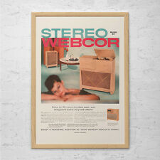 VINTAGE STEREO CONSOLE Ad - Retro Record player Ad -  Lp Records Poster Vintage