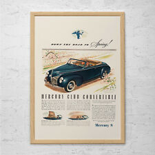 MERCURY CLUB CONVERTIBLE Ad - Retro Car Ad -  Vintage Classic Car Ad Mid-Century