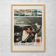 CLASSIC LUCKY STRIKE Ad - Vintage Cigarette Ad - Mid-Century Poster Vintage Luck