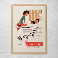VINTAGE FRENCH AD - Retro Mid-Century Ad - Vintage Laundry Room Poster 1950's Re