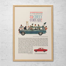CHEVY CORVAIR AD - Classic Car Ad 1961 Chevy Station Wagon Mid-Century Poster Ga