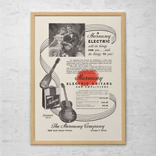 VINTAGE HARMONY GUITAR Ad - Rockabilly Guitar Poster, Harmony Guitar Amp Poster,