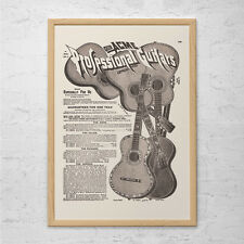 ANTIQUE GUITAR AD - Vintage Guitar Ad, Old Guitar Poster, Guitar Player Gift, Mu
