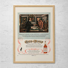 OLD CROW WHISKEY Ad - Retro Kentucky Bourbon Ad - Bar Poster Decor Whiskey Lover