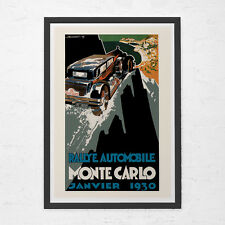 1930 MONTE CARLO POSTER - Antique French Car Rally Poster - Vintage Car Poster,