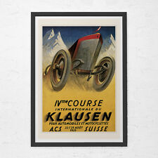 1925 KLAUSEN CAR POSTER - Antique Swiss Car Poster - Vintage Rally Car Art, High