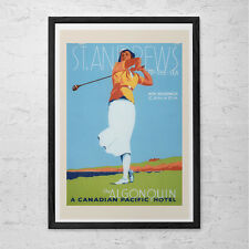 VINTAGE GOLF Poster - St Andrews Golfl Print - Retro Golf Poster Canadian Pacifi