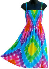 Rainbow Tie Dye Dress Multi Color Sundress Summer Beach NEW Womens S M L
