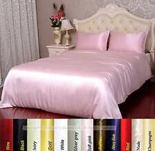 19 Momme 100% Pure Silk Seamless Duvet Cover Fitted Flat Sheet Set Size Full