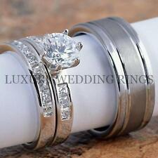 3PCS Silver Wedding Engagement Ring & Band Set & Men's Tungsten Wedding Band