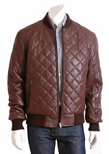 MENS Brown Leather Bomber Jacket Darren Fitted Quilted Padded Lambskin Coat NEW