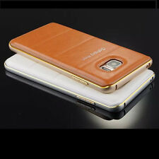 Luxury Leather Back Case Aluminum Metal Bumper Cover For Samsung Galaxy Note 5
