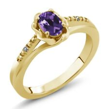 0.36 Ct Oval Purple Amethyst White Diamond 18K Yellow Gold Plated Silver Ring