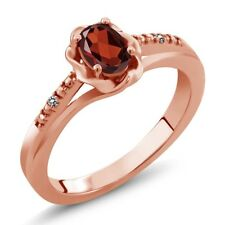 0.51 Ct Oval Red Garnet White Diamond 18K Rose Gold Plated Silver Ring