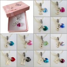 GIRLS Personalised AGE Charm Necklace with SWAROVSKI Elements Heart + GIFT BOX