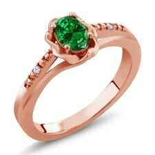 0.37 Ct Green Simulated Emerald White Topaz 18K Rose Gold Plated Silver Ring