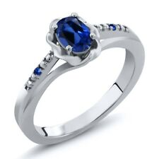 0.52 Ct Oval Blue Simulated Sapphire Blue Sapphire 14K White Gold Ring
