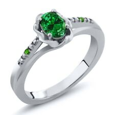 0.36 Ct Oval Green Simulated Emerald and Simulated Tsavorite 925 Silver Ring