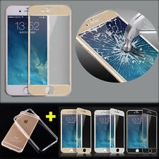 For Apple Iphone 5 5s 6 6s 6Plus Full Tempered Glass Screen + Free Soft TPU Case