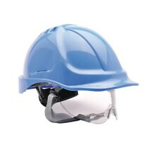 Portwest PW55 Safety Helmet Hard Hat with Integral Specs Blue Yellow White Red