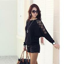 Womens Girl Long Sleeve Blouses Casual Dolman Lace Loose T-Shirt Batwing Tops