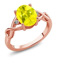 1.86 Ct Oval Canary Mystic Topaz White Diamond 18K Rose Gold Plated Silver Ring