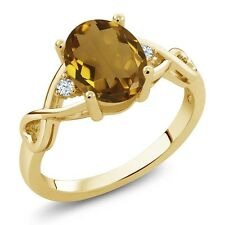 1.25 Ct Oval Champagne Quartz White Topaz 18K Yellow Gold Plated Silver Ring