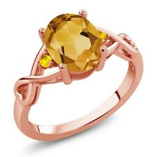 1.57 Ct Oval Yellow Citrine Yellow Sapphire 18K Rose Gold Plated Silver Ring