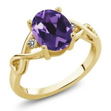 1.72 Ct Oval Purple Amethyst White Diamond 18K Yellow Gold Plated Silver Ring