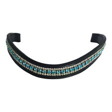 BLACK LEATHER BLING BROWBAND AQUA & CLEAR CRYSTALS - PONY COB FULL WB - FREE P&P