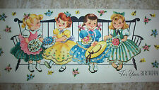 Vtg BIRTHDAY Greeting Card - Little Girls in Colorful Dresses Sitting on Bench