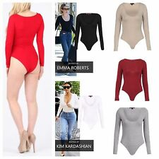 NEW WOMENS LADIES SCOOP NECK LONG SLEEVE PLAIN JERSEY BODYSUIT LEOTARD LOOK TOP