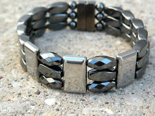 Men's SPORTSMAN SERIES 100% Magnetic Hematite SILVER TRIPLE Bracelet