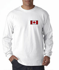 Canadian Flag Canada Pride Hockey Embroidered Long Sleeve T-Shirt S-3XL