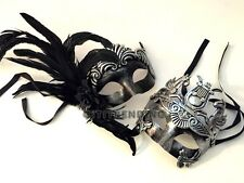 Mardi Gras Masquerade Ball Mask Metallic Feather Costume Carnival Dance Party