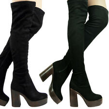 Womens OVER THE KNEE Boots Pull on stretch Platform Chunky Heel  Ladies size