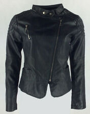 Womans/Ladies/Girls New Pvc Fully Lined  Mandarin Collar Biker Jacket  Coat 8-14