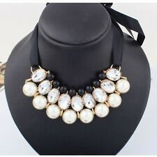 Hot Selling Fashion Ribbon Imitation White Pearl Collar Necklace Elegant Jewelry