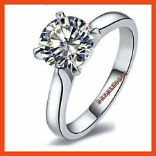 18k White Gold Plated Prong Set Swarovski Crystal Solitaire Engagement Ring MR06