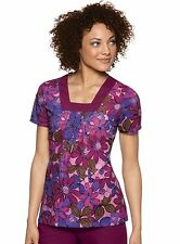 NWT Baby Phat Women's Square Neck Garden Of Eden Printed Scrub Top by Cherokee