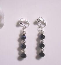 Faceted crystal bead/silver drop dangle earrings - clip-on or pierced