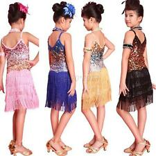 New Girl Tassel Sequined Latin Salsa Dance Dress Kids Party Ballroom Costume G55