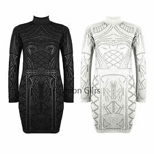 New Womens Celeb Glitter Flock Turtle Neck Long Sleeve Bodycon Midi Party Dress