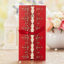 100 50 Wedding invitation cards kit with free envelopes, seals Red
