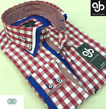 New Mens Smart Casual Red With White Check Double Collar Italian Slim Fit Shirt
