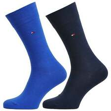 Tommy Hilfiger Men's Classic 2 Pack Cotton Logo Socks, Blue Shades, 2 Pairs Sox
