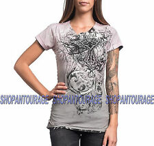 SINFUL Angel Kiss S3756 Women`s New Silver Grey Reversible Tee By Affliction